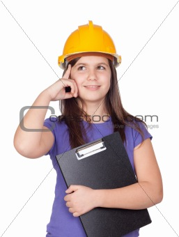 Adorable preteen girl with helmet thinking