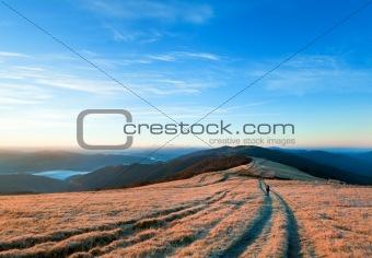 sunrise autumn mountain road view