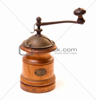 Old wooden coffee-grinder