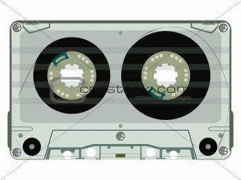 audio tape cassette isolated on white