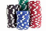 multicolor poker chips heaps isolated
