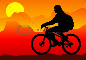 Cyclist boy in mountain