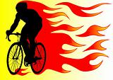 Cyclist in fire