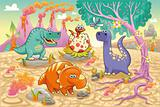 Group of funny dinosaurs in a prehistoric landscape.