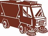 street sweeper cleaner truck isolated