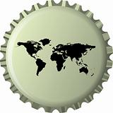 black world map against bottle cap