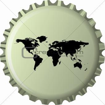 black world map against bottle cap
