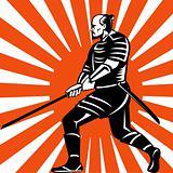 samurai warrior with sword in fighting stance