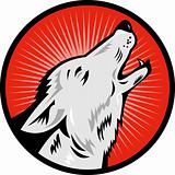 wolf howling side view