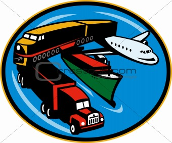 Train, truck, container ship and airplane travel