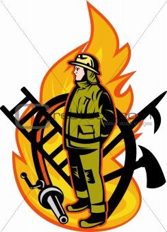 Fireman Firefighter axe ladder spear hook hose