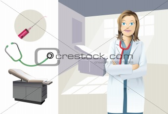 A female doctor in a examination room.