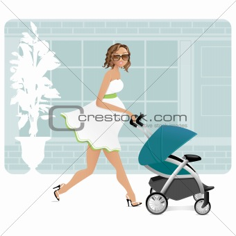 Pregnant latina mother with a stroller