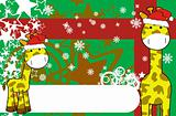 giraffe cartoon xmas background 9