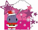 hippo cartoon xmas card