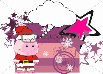 pig cartoon xmas card