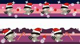 raccoon claus cartoon banner