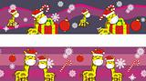 giraffe cartoon xmas banner 6