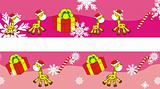 giraffe cartoon xmas banner 7