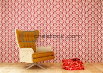 chair and a red tablecloth