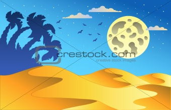 Cartoon night desert landscape