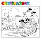 Coloring book with pirate scene 3