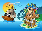 Pirate monkey and chest on island