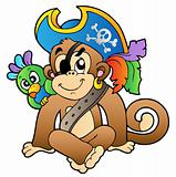 Pirate monkey with parrot