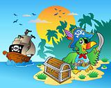 Pirate parrot and chest on island