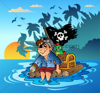 Pirate sailing on wooden raft