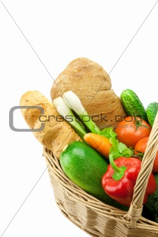 bread and fresh vegetables