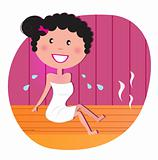 Health and spa: Happy smiling woman relaxing in infrared sauna