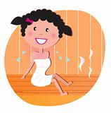 Health and spa: Happy smiling woman relaxing in sauna