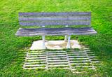 Portugal. Bench in a lawn