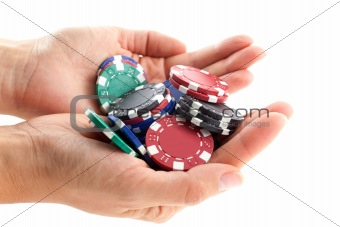 multicolor poker chips handful