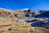 Fagaras mountains in the fall with blue sky
