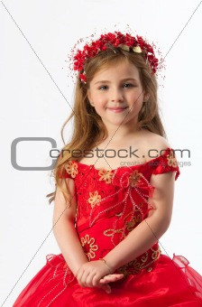 A young girl in costume