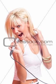 blond girl singing