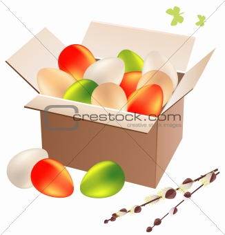 Box full of easter eggs
