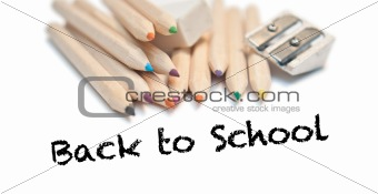 Back to school with Color pencils, rubber and sharpener