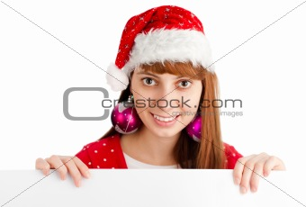santa girl holding empty board