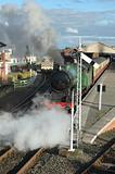 steam train leaving station