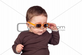 Beautiful baby with sunglasses