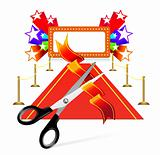 Red carpet with scissors and star background