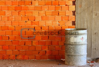 Brick wall on a building site