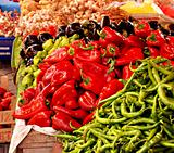Hot chilli peppers on a market stall