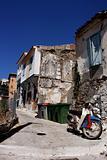 View of old crumbling greek house