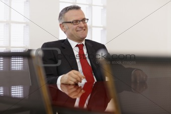 Businessman in corporate meeting
