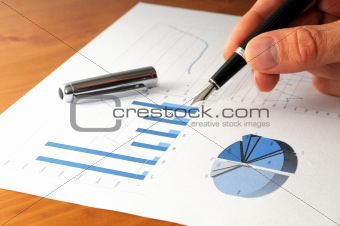 business chart and hand
