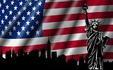 USA American Flag with Statue of Liberty Skyline Silhouette
